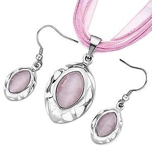 Pugster Oval Pattern White Drip Pink Cat Eye Pendant Earrings Set