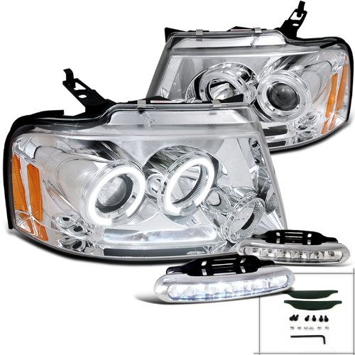 Ford F150 Chrome Halo Projector Headlights W/ Led Drl Fog Lamps