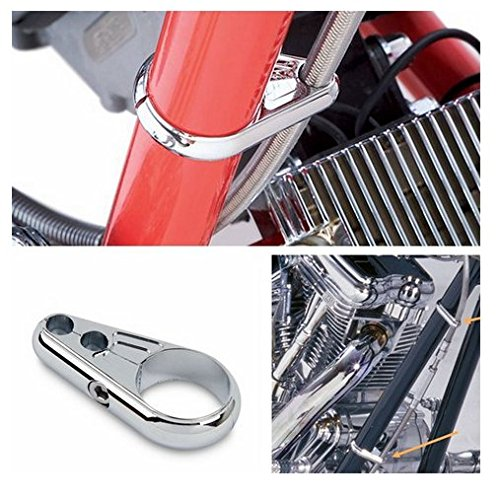 """Buwico Motorcycle 25mm 1"""" Chrome Dual Frame Handlebar Clutch Cable Brake Line Clamp for Harley Davidson"""