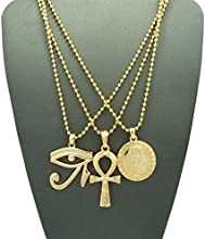 """Eye of Horus, Ankh, Pharaoh Medal Pendant Set 2mm 24"""" Ball Chain Necklaces in Gold-Tone"""