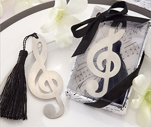 Timeless Duet Brushed-Metal Openwork Symphony Music Note Bookmark With Elegant Silk Tassel, 65 front-150586