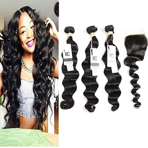 HC Hair Loose Wave Brazilian Human Hair 3 Bundles with Closure 100% 7a Unprocessed Virgin Brazilian Hair Loose Wave with Closure Human Hair Extensions Bundles with Free Part Closure(4*4) (20 22 (How Many Days Is Standard Shipping)