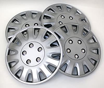 TuningPros WSC-738S15 Hubcaps Wheel Skin Cover 15-Inches Silver Set of 4