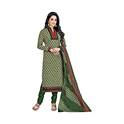 MAC Green Printed Unstitched Salwar Suit for Women