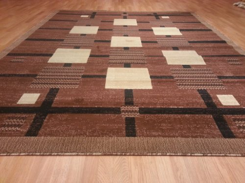 E527 Contemporary Modern Transitional Checkered Brown 5x8 Actual Size 5'3x7'2 Rug