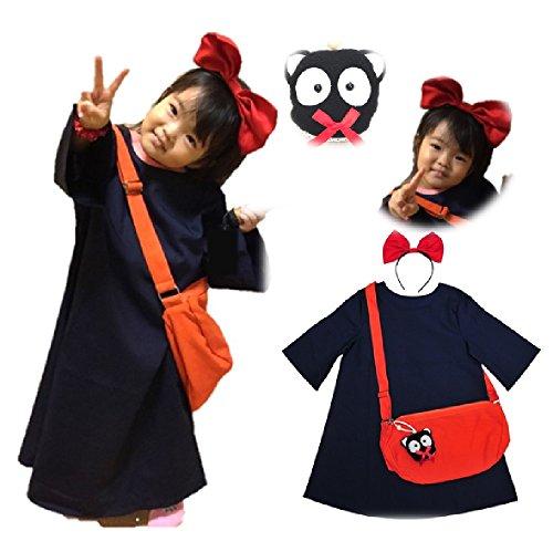 魔女っ娘ワンピ キキ 風 コスプレ 子供 Kids 衣装 4点 セット ( ワンピース カチューシャ バッグ くろねこ ) ハロウィン コスチューム (子供フリーサイズ)