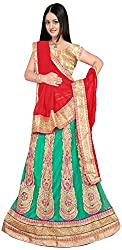 Jay Ambe Creation Women's Viscose Dress Material(dno132a_Red & Rama_Free Size)