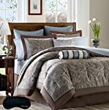Elegant Brown Blue Paisley Queen 14 Pc. Jacquard Comforter Bedding SUPER SET + 100% Cotton Complete Sheet Set and 2 Home Style Brand Sleep Masks ( Queen, Blue)