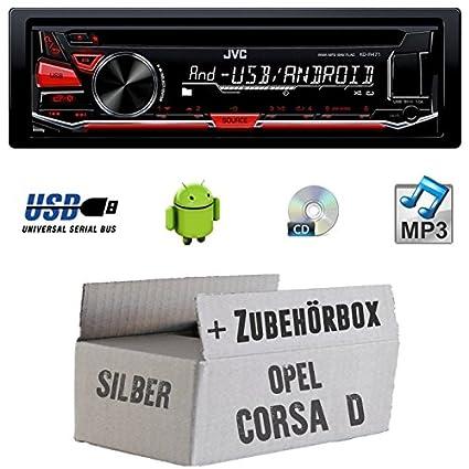 Opel Corsa D silber - JVC KD-R471E - CD/MP3/USB Autoradio - Einbauset