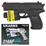 Spring Airsoft Hand Gun With laser, multi-colored LED lights and BBs