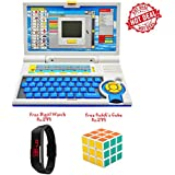 Lets Play ENGLISH LEARNER EDUCATIONAL LAPTOP FOR KIDS(Blue)+Free Kids Digital Watch Rs.299+Free Rubik's Cube Rs...