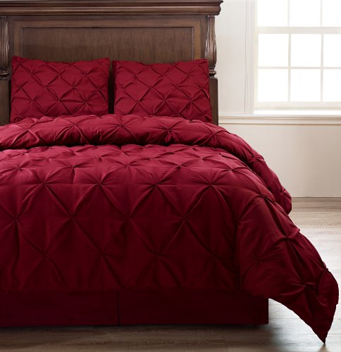 Pinch Pleat Burgundy Color Full Size 4-Piece Comforter Set, Bed Cover by Cozy Beddings (Full Size Bed Quilt compare prices)