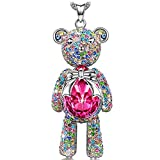 "Necklace, ♥Christmas Gift♥ with Exquisite Package J.NINA ""Bear Princess"" Made with Rose Swarovski Crystals, Cute Bear Limb-Rotating Design Women Pendant Jewelry , 18''+ 2"" Extender"