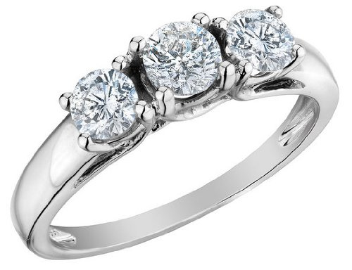 Diamond Engagement Ring and Three Stone Anniversary Ring 1.0 Carat (ctw) in 14K White Gold