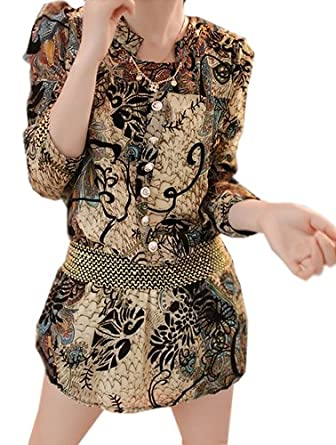 Women New Arrival Deluxe Floral Chiffon Dress Stand Collar Top Blouse