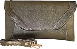Patzino Fashion Collection, Faux Leather Women\'s Envelope Clutch/ Purse (Classic Gold)