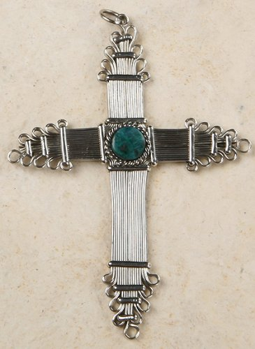 Peruvian Cross or Ornament - Turquoise
