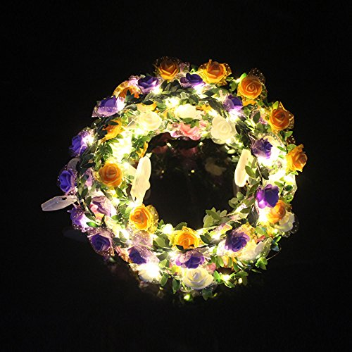 MOCENT Headwear Flower Garland Headband with LED Lights,LED Floral Hair Wreath for Wedding,Party,Festival,Photography(4 Pack)
