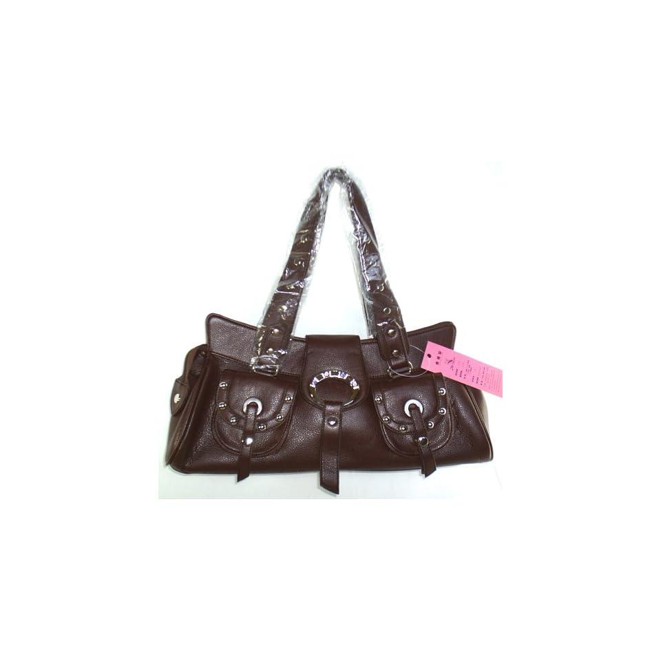 Women Brown Leather Color Rhinestone Shoulder Handbag Purse