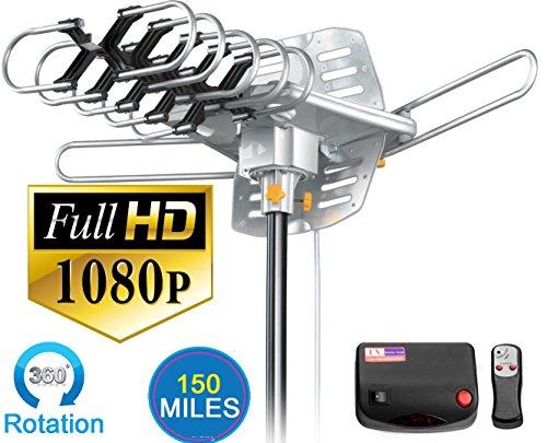Vilso TV Antenna Outdoor Amplified - Motorized 360 Degree Rotation - Digital HDTV Antenna - 150 Miles Range - Wireless Remote