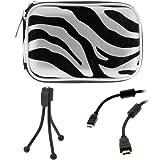 BIRUGEAR Silver Zebra Zipper Pouch Case + 6 FT Mini HDMI Cable + Mini Tripod Stand for Canon IXUS 1100 HS, IXUS 1000 HS, IXUS 510 HS, IXUS 500 HS, IXUS 310 HS, IXUS 300 HS,IXUS 255 HS, IXUS 240 HS, IXUS 230 HS, IXUS 220 HS, IXUS 125 HS, IXUS 115 HS Compa