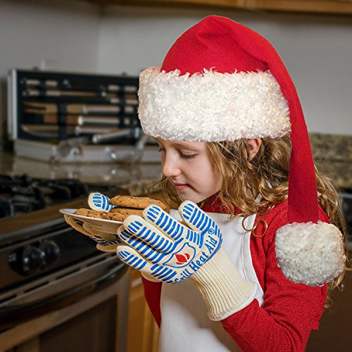Fits Ladies with X-Small Hands or Child Young As 7 Years Old! Grill Heat Aid Gloves For Baking, Grilling & Oven Use, Protection Up To 932°F, 2 Gloves (Extra Small Oven Gloves compare prices)