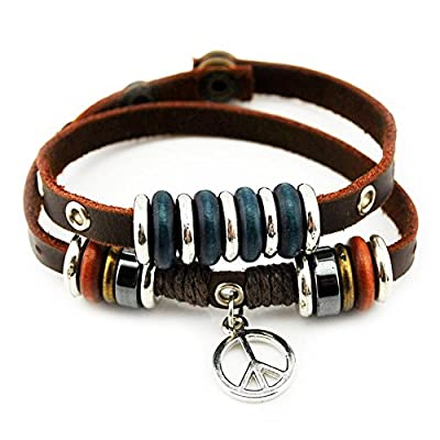 Wild Wind (TM) Unique Art Metal Pendant Ring Leather Adjustable Wrap Bracelet