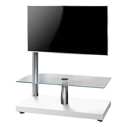 """L&C Flag Tower De Luxe Supporto per TV da 32"""" a 55"""", 105 cm, Bianco Raggrinzito/Cromo"""