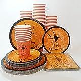 紙皿  紙カップ 紙 セット ハロウィン  ハロウィンパーティーに  ハロウィンパーティープレート コスチューム用小物 男女共用 (2)