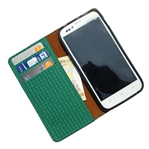 i-KitPit - PU Leather Wallet Flip Case Cover For Micromax Canvas Turbo Mini A200 (GREEN)