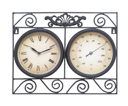 it is a doublesided clock with one side featuring the time and the other the temperature in fahrenheit the case is so feel confident that