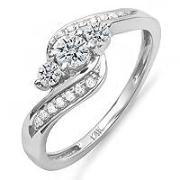 0.50 Carat (ctw) 14k Gold Round Diamond Ladies Swirl Engagement 3 Stone Bridal Ring 1/2 CT by DazzlingRock