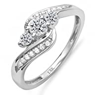 0.50 Carat (ctw) 14k Gold Round Diamond Ladies Swirl Engagement 3 Stone Bridal Ring 1/2 CT