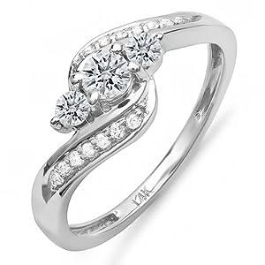 0.50 Carat (ctw) 14k White Gold Round Diamond Ladies Swirl Engagement 3 Stone Bridal Ring 1/2 CT (Size 5)