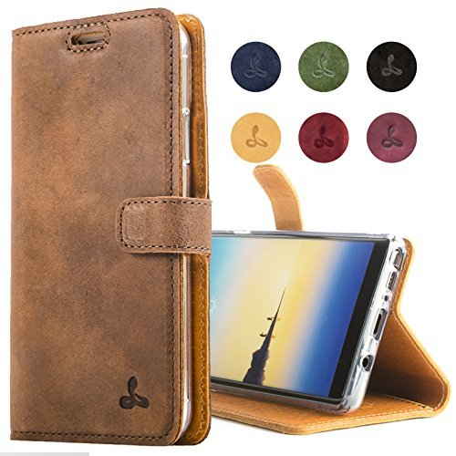 reputable site ed717 0f97b SnakeHive Samsung Galaxy Note 8 Case, Genuine Leather Wallet with ...