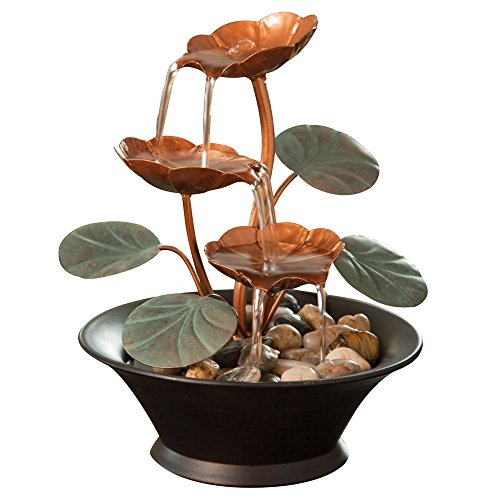 Bits and Pieces - Indoor Water Lily Water Fountain-Small Size Makes This A Perfect Tabletop Decoration - Compact and Lightweight (Mini Waterfall compare prices)