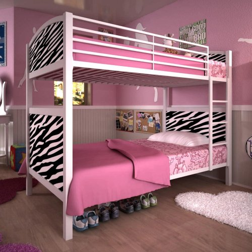 Dorel Home Products White Metal Bunk Bed  Zebra