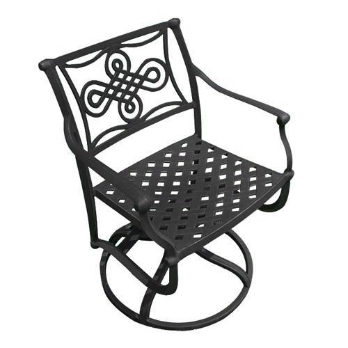Vienna Cast Aluminum Swivel Rocking Chair - Black front-1002398