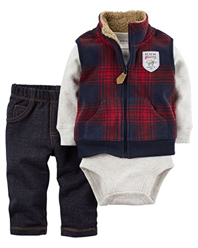 [Carter's Baby Boys' 3 Piece Vest Set (Baby), Red Plaid, 6 Months] (Baby Designer Clothes)
