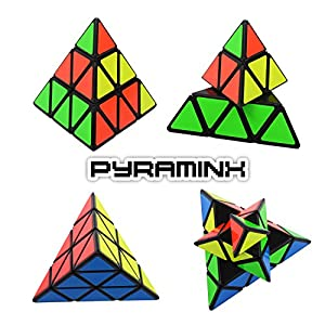 Set of 3 Speed Cube Pyraminx, Megaminx, Gold Mirror Magic Puzzle, Black