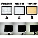 Andoer®160 LED Lampe de Vidéo Panneau de lumière 12W 1280LM Dimmable pour Canon Nikon Pentax DSLR Caméra Vidéo Caméscope