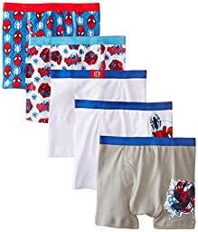 Handcraft Little Boys\' Spiderman  Boxer Brief (Pack of 5), Assorted, 8