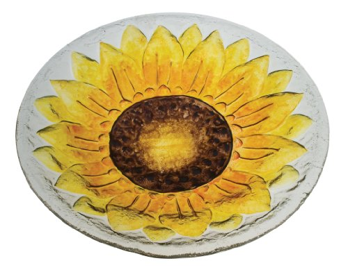 Evergreen 2GB010 Glass Bird Bath, Sunflower,