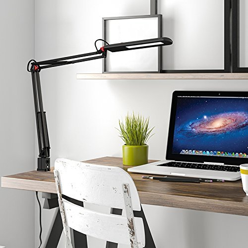 ToJane Metal Architect Eye Care Desk Lamp,Table Attached Clamp LED Lamp, 3-Level Dimmer and Brightness Modes with Memory Function, Pro Eye-protection Task Light,8W,Black Color (Function Led Eye Protection compare prices)