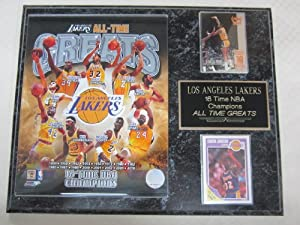 Los Angeles Lakers All Time Greats 2 Card Collector Plaque by J & C Baseball Clubhouse