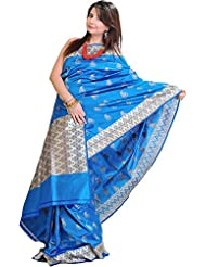 Exotic India Vivid-Blue Banarasi Sari With All-Over Woven Booties In Meta - Blue