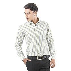 ZIDO Green Blended Men's Striped Shirts PCFLX1288_Green_46