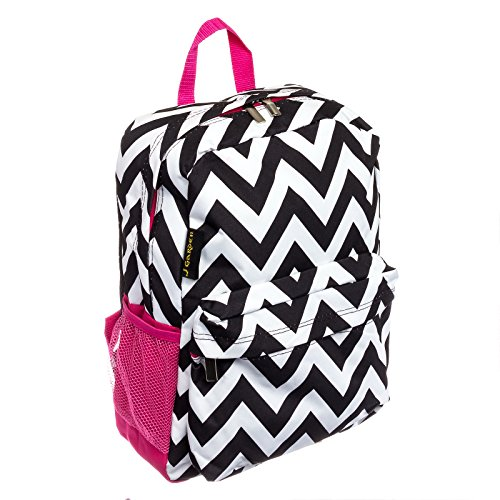 Womens Chevron Backpack Bag w/ Pink Trim (Black & White)