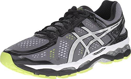 ASICS Men's Gel Kayano 22 Running Shoe, Charcoal/Silver/Lime, 10.5 M US