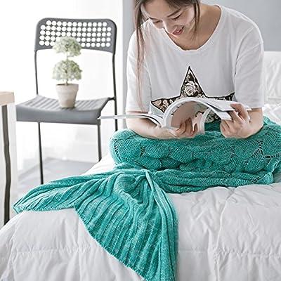 Meily 可愛い毛布 ひざ掛け 人魚コスチューム ブランケット 人魚姫に変身 冷房対策にも最適 柔らかい 防寒 大人用 (デザイン2 グリーン)